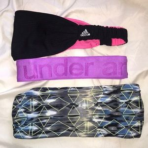 Three active wear headbands